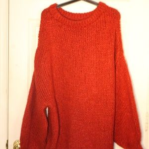 Red wool knit sweater